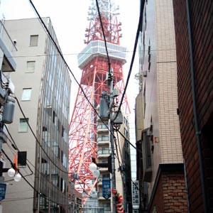 路地と電波鉄塔