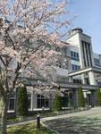 桜が綺麗に咲いている大学でした。