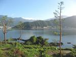 河口湖、残念ながら富士山はきれいに見