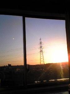 早朝5時の病室から「朝焼け」