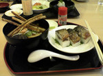 浜焼き鯖寿司とごぼう天うどん