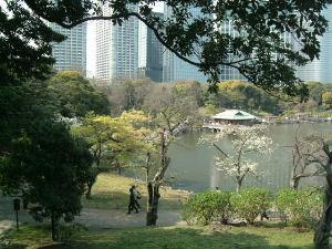 浜離宮内・富士見山から園内を望む