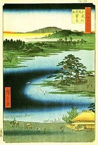 歌川広重の描いた洗足池と袈裟懸松