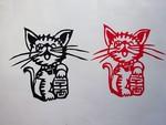 簡単布切り絵「猫」