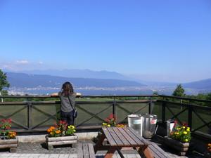 諏訪湖、諏訪市内を眺める相方