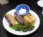 紫芋、かぼちゃ風味の芋のコロッケ